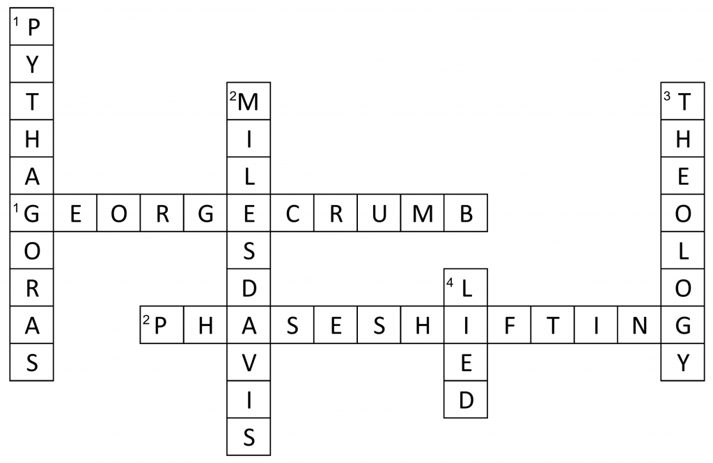 Crossword Puzzle answers: George Crumb, Phase shifting, Pythagoras, Miles Davis, Theology, Lied